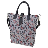 Gray Floral Gray Handled Buckle Top Tote Bag