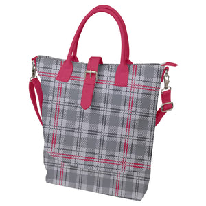 Gray and Pink Plaid Buckle Top Tote Bag