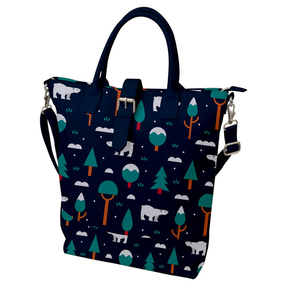 Polar Bear Pattern Buckle Top Tote Bag
