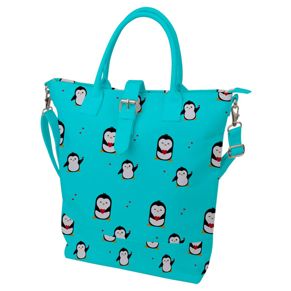 Penguins Hearts Pattern Buckle Top Tote Bag