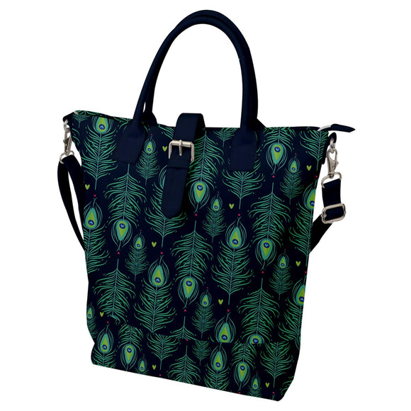 Peacock Feathers Pattern Buckle Top Tote Bag