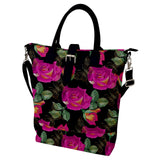 Roses and Butterflies Pattern Buckle Top Tote Bag