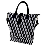 Black and White Geometric Pattern Buckle Top Tote Bag