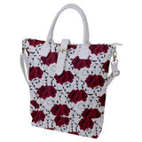Red Flowers Pattern Buckle Top Tote Bag