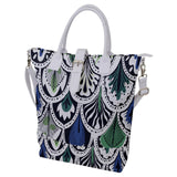 Feather Pattern Buckle Top Tote Bag