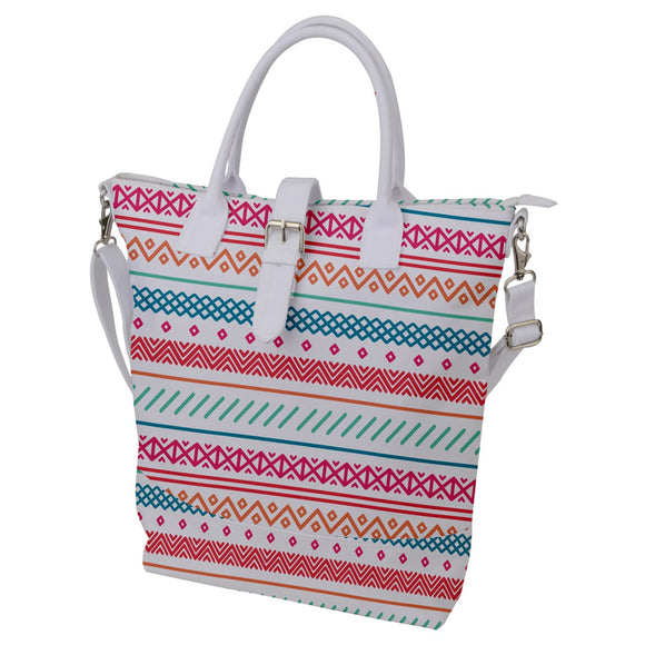 Colorful Geometric Pattern Buckle Top Tote Bag