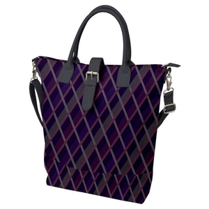 Purple Geometric Pattern Buckle Top Tote Bag