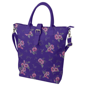 Purple and Pink Floral Buckle Top Tote Bag
