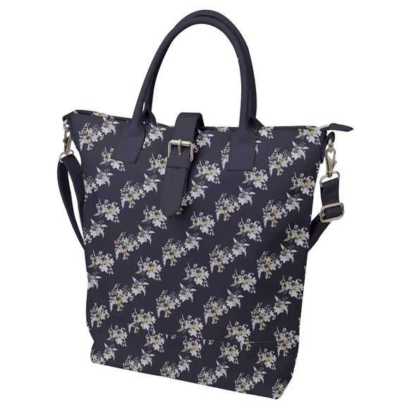 Gray Floral Pattern Buckle Top Tote Bag