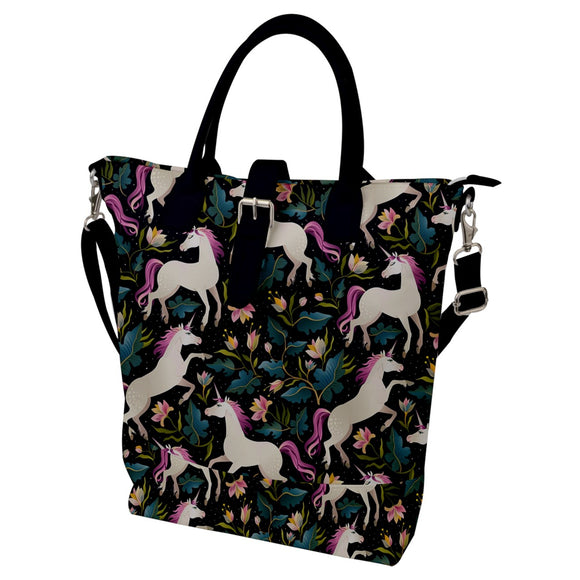 Unicorns Pattern Buckle Top Tote Bag