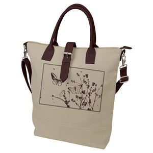 Brown and Cream Butterflies Buckle Top Tote Bag