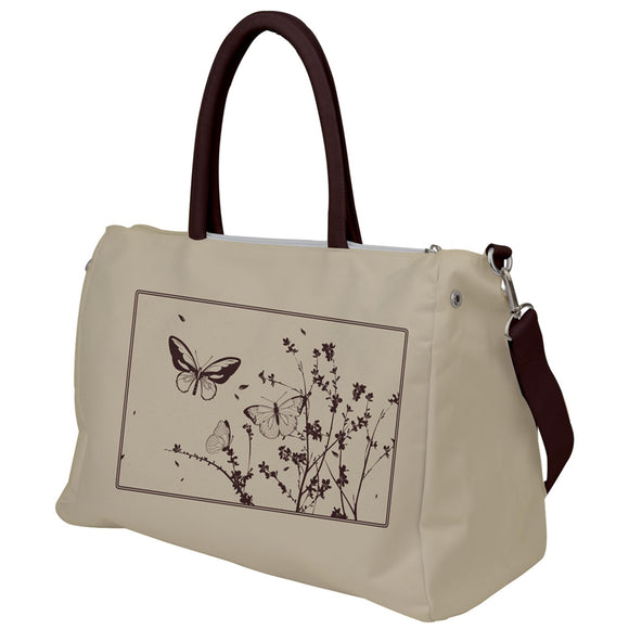 Brown and Cream Butterflies Travel Bag