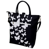 White and Black Butterflies Buckle Top Tote Bag
