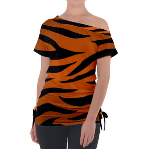Tiger Print Off Shoulder Tie Up Tee