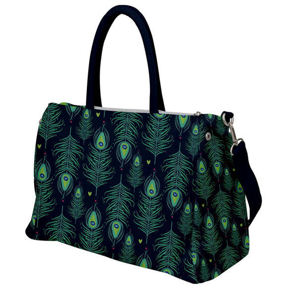 Peacock Feathers Pattern Top Handle Bag