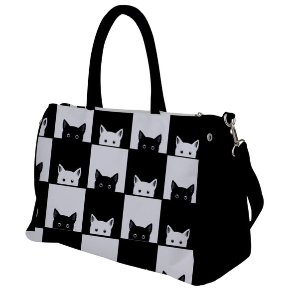 Black and White Cats Pattern Travel Bag