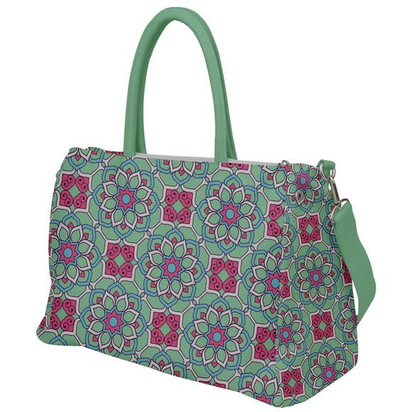 Pink and Green Geometric Floral Travel Bag