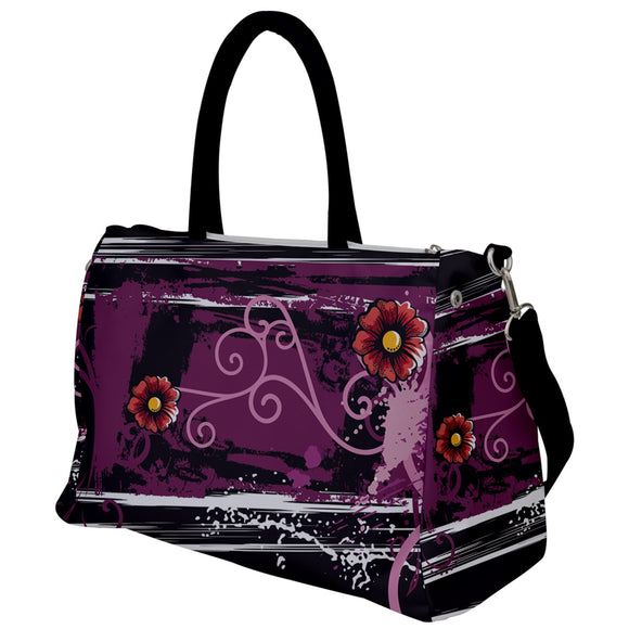 Swirls and Flowers Purple Travel Bag