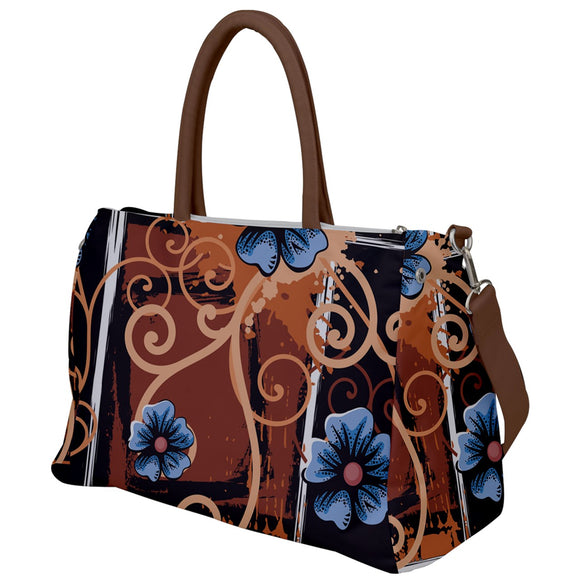 Swirls and Flowers Brown Travel Bag