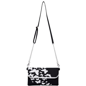 Black and White Butterflies Clutch Bag