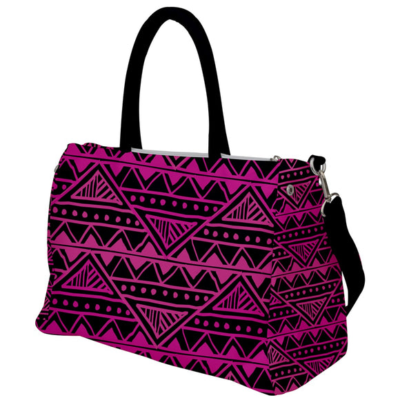 Pink and Black Geometric Pattern Travel Bag