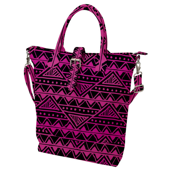 Pink and Black Geometric Pattern Buckle Top Tote Bag