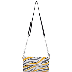 Gray, Yellow, White Brush Strokes Clutch Bag