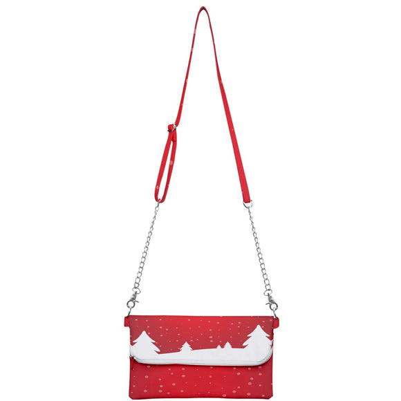 Red and White Snowy Trees Clutch Bag