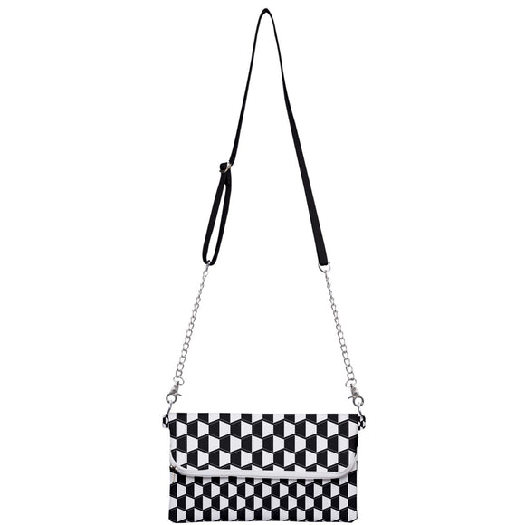 Black and White Geometric Pattern Clutch Bag