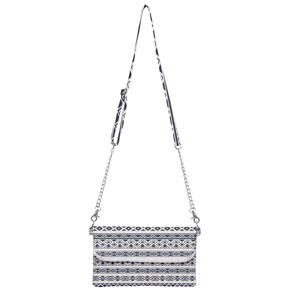 Gray and White Geometric Pattern Clutch Bag