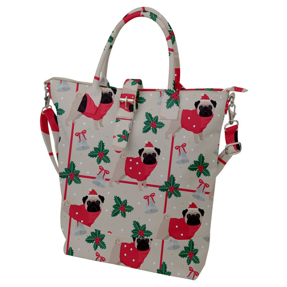 Pug Christmas Pattern Buckle Top Tote Bag
