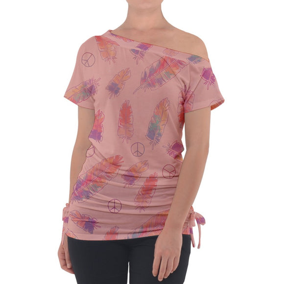Feathers and Peace Signs Pink Off Shoulder Tie Up Tee