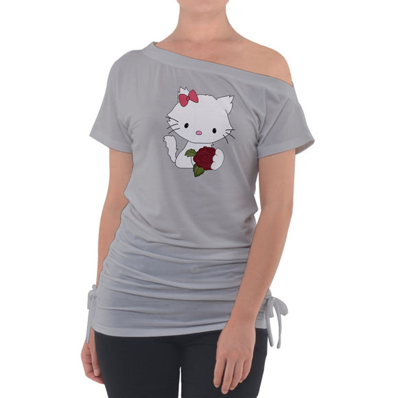 Pretty Kitty Gray Off Shoulder Tie Up Tee