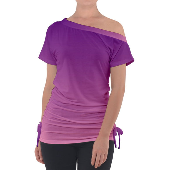 Purple to Pink Ombre Off Shoulder Tie Up Tee