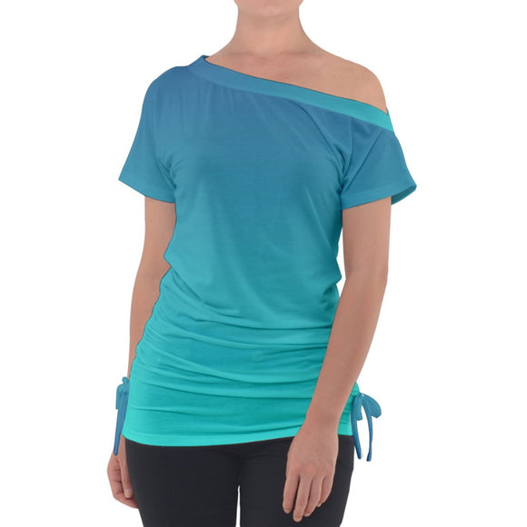 Blue Ombre Off Shoulder Tie Up Tee