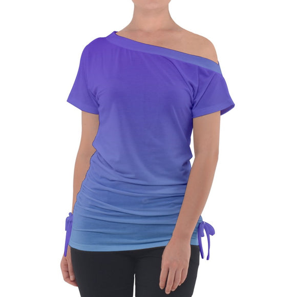 Purple Blue Ombre Off Shoulder Tie Up Tee