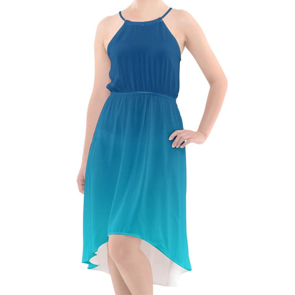Blue Ombre High-Low Halter Chiffon Dress
