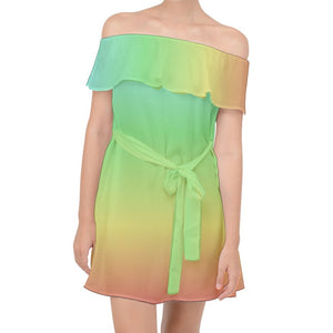 Blue Green Yellow Red Ombre Off Shoulder Chiffon Dress