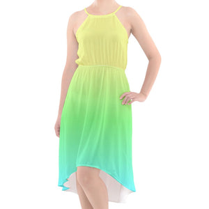 Yellow, Green, Blue Ombre High-Low Chiffon Dress