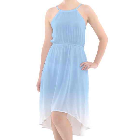 Blue to White Ombre High-Low Halter Chiffon Dress