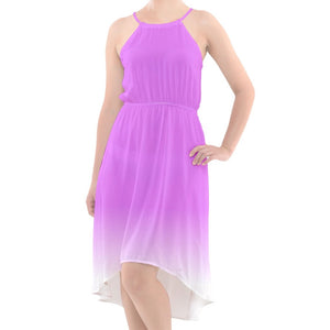 Purple to White Ombre High-Low Halter Chiffon Dress