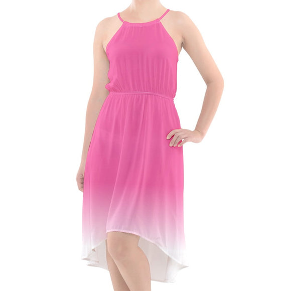 Pink to White Ombre High-Low Halter Chiffon Dress