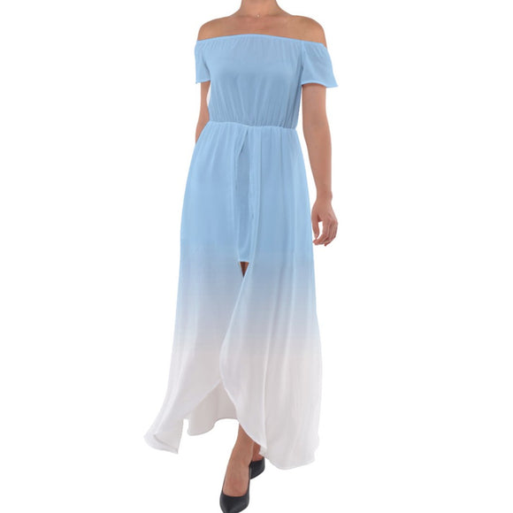 Blue to White Ombre Off Shoulder Open Front Chiffon Dress