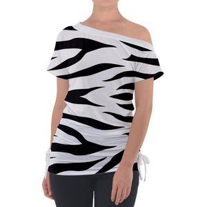 Zebra Print Off Shoulder Tie Up Tee