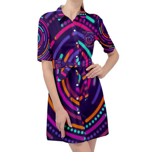 Electric Circles Pattern Belted Shirt Dress