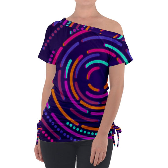 Electric Circles Pattern Off Shoulder Tie Up Tee
