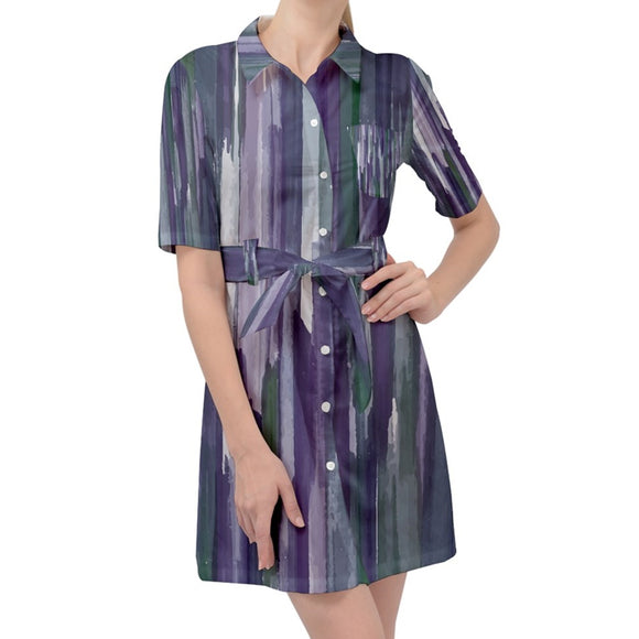 Purple Green Brush Strokes Belted Shirt Dress