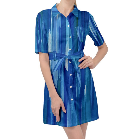 Blue Brush Strokes Belted Shirt Dress