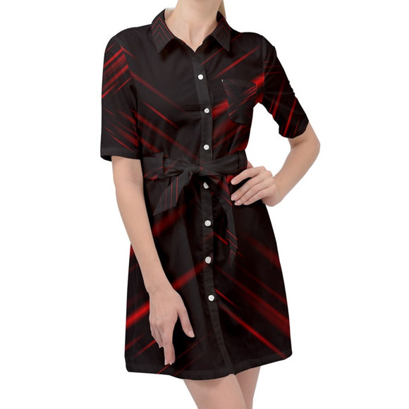 Red and Black Abstract Belted Shirt Dress