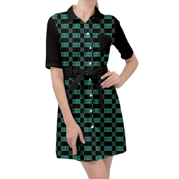 Green and Black Plaid Belted Shirt Dress